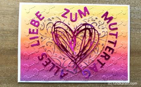 Karte Muttertag Sizzix Aquarell Herz