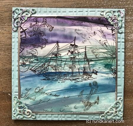 Karte Segelschiff Encaustic Sizzix