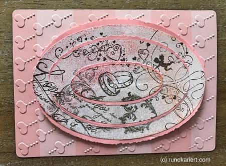 Karte Hochzeit Skadi Ovale auf rosa Grund