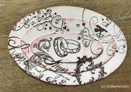 Karte Hochzeit Skadi Ovale gestempelt bunt