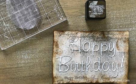 Karte Geburtstag Judith Schriftzug stempeln distress ink