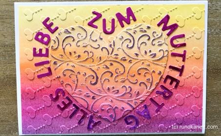 Karte Muttertag Sizzix Aquarell Buchstaben geklebt