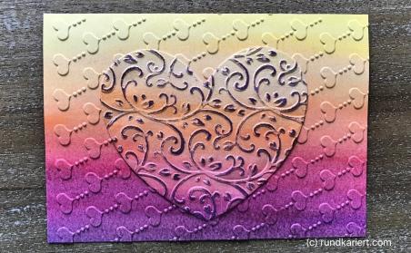 Karte Muttertag Sizzix Aquarell Herz geglebt