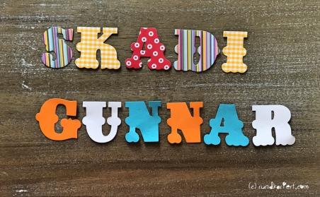 Personalisierte Girlande zum Kindertag für jedes Jahr Sizzix Vornamen Skadi Gunnar