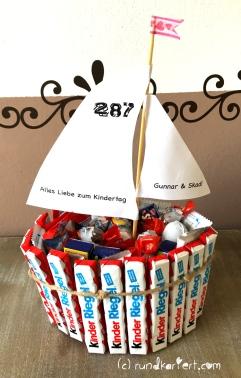 Segelboot Kinderschokolade DIY Überraschungsei