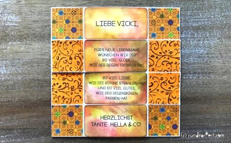Endloskarte Geburtstag Distress Ink Vicki seite eins