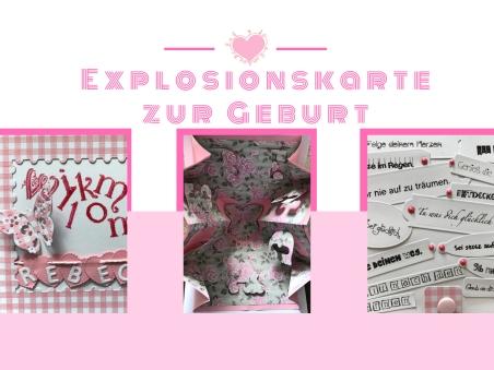 Explosionskarte Sizzix Geburt Distress Ink Anleitung