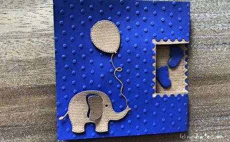 Karte Geburt Junge vorderseite mit Elefant