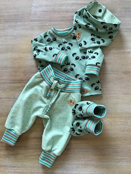 Wendejacke Panda rundkariert ruka klimperklein Baby