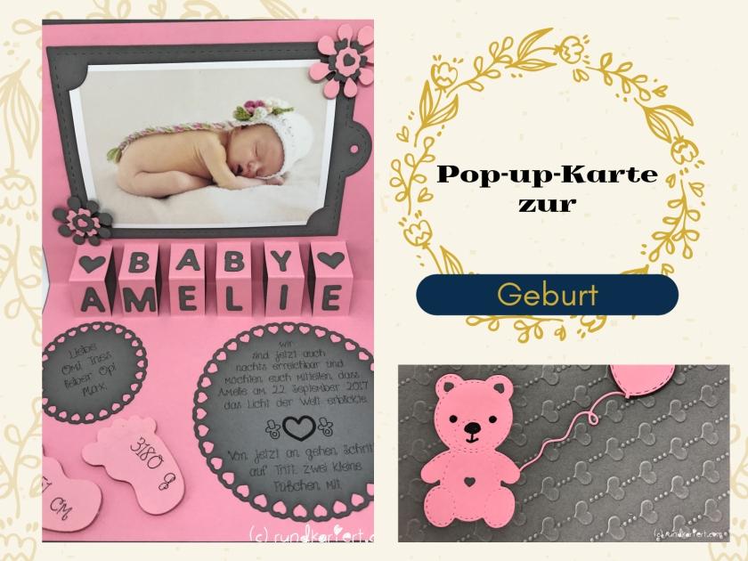Karte Geburt Baby girl Anleitung sizzix Big shot rundkariert ruka Pop up prägen
