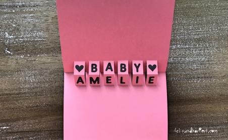 Karte Geburt Baby girl Anleitung sizzix Big shot rundkariert ruka vornamen
