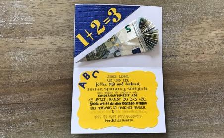 karte zur Einschulung Sizzix personalisiert rundkariert ruka spruch geschenk