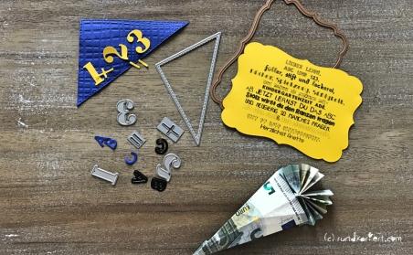karte zur Einschulung Sizzix personalisiert rundkariert ruka zuckertüte spruch geldschein falten