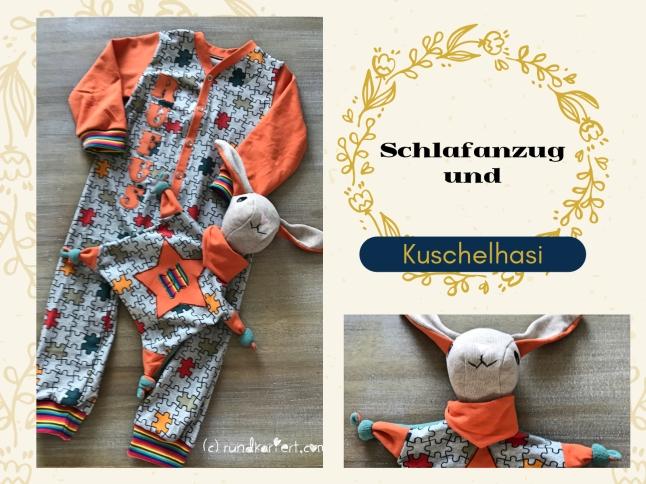 Schlafanzug Kuschelhasi Schlafi Babyanzug Strampler vlisofix baumwolljersey klimperklein ruka