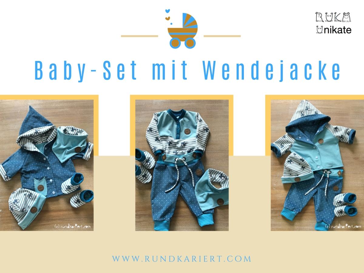 Wendejacke, Wendebeanie, Shirt, Hose und Schuhe fürs Baby