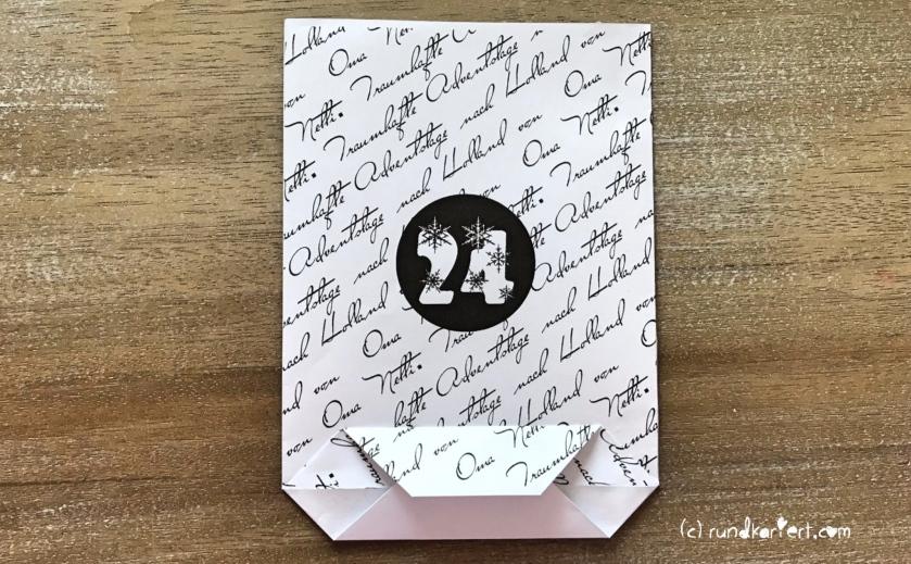 Adventskalender personalisiert basteln Anleitung last minute einfach schnell rundkariert Darum Zahl tüte mit boden