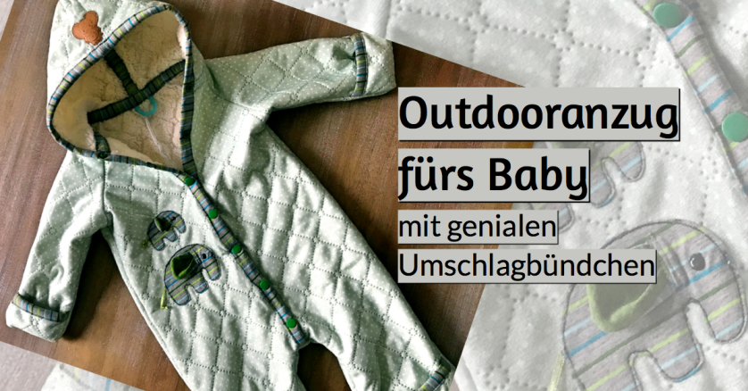 Outdooranzug fürs Baby Schnittmuster Anleitung Teddyplüsch klimperklein rundkariert