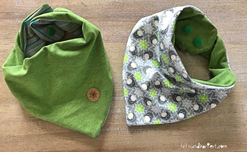 Shirt, Hose, Wendehalstuch fürs Baby mit Pinguin , Streifenjersey und Snappap Schnittmuster Klimperklein rundkariert ruka unikate Schneeflocke