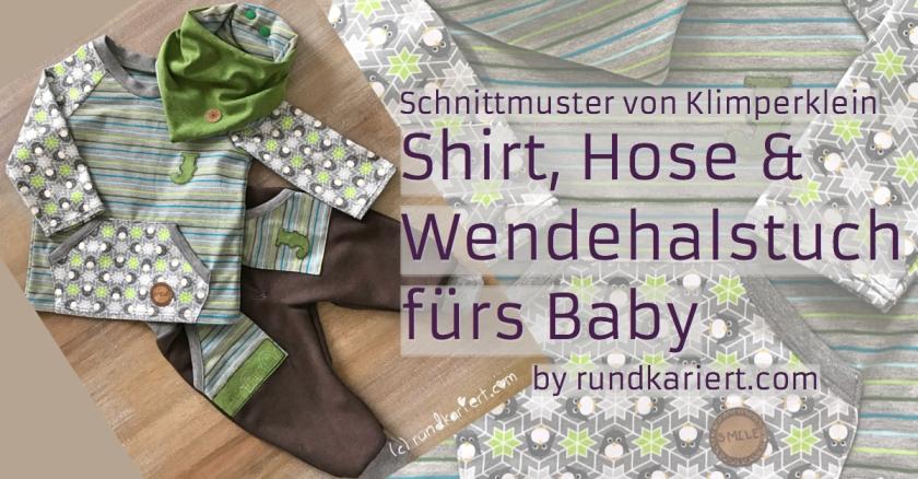 Shirt, Hose, Wendehalstuch fürs Baby mit Pinguin , Streifenjersey und Snappap Schnittmuster Klimperklein rundkariert ruka unikate Stempelmotiv
