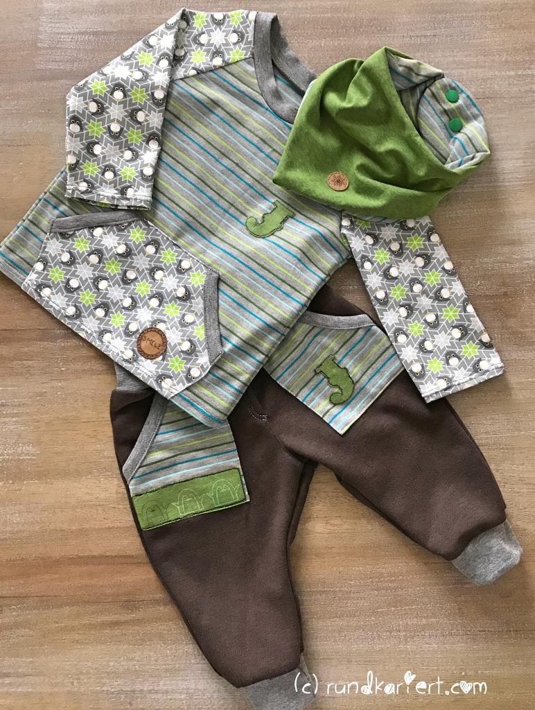 Shirt, Hose, Wendehalstuch fürs Baby mit Pinguin , Streifenjersey und Snappap Schnittmuster Klimperklein rundkariert ruka unikate