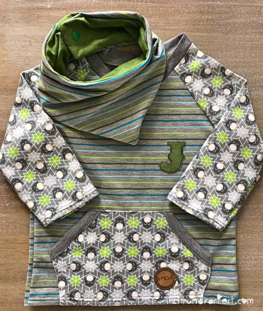 Shirt, Wendehalstuch fürs Baby mit Pinguin , Streifenjersey und Snappap Schnittmuster Klimperklein rundkariert ruka unikate