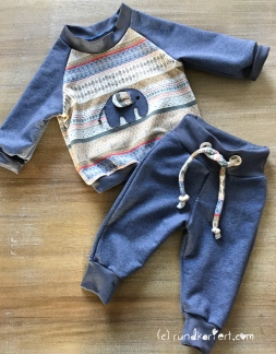 Sweatshirt Hose Baby Klimperklein Elefant Hilco rundkariert