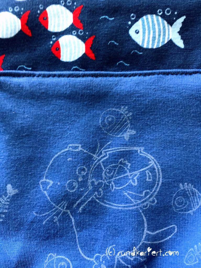 Sweatshirt Hose Baby Schnittmuster Klimperklein Stempelmotiv Stoff Fisch