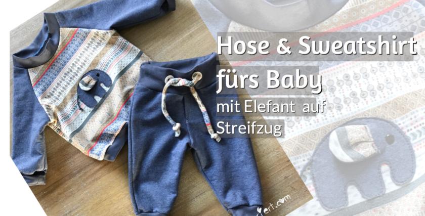 Sweatshirt und Hose Baby Klimerklein Schnittuster Elefant Wintersweat rundkariert