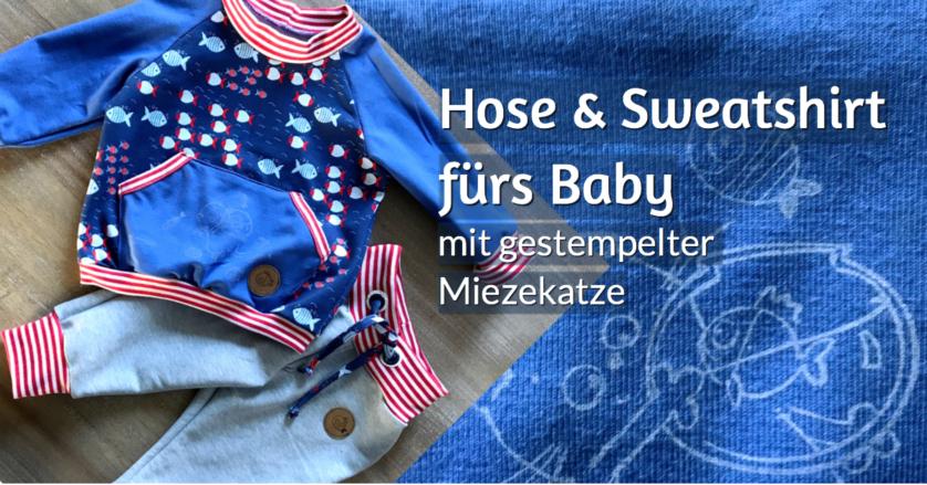 Sweatshirt und Hose Baby Klimperklein Schnittmuster rundkariert Stempelmotiv Katze Fische Snappap