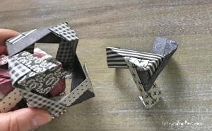 Weihnachtlicher Türkranz Anleitung diy basteln Origami Kranz falten Art rundkariert Element Ecke abnehmen