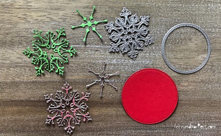 Weihnachtskarte Schneeflocke sizzix Anleitung rundkariert stanzform stern