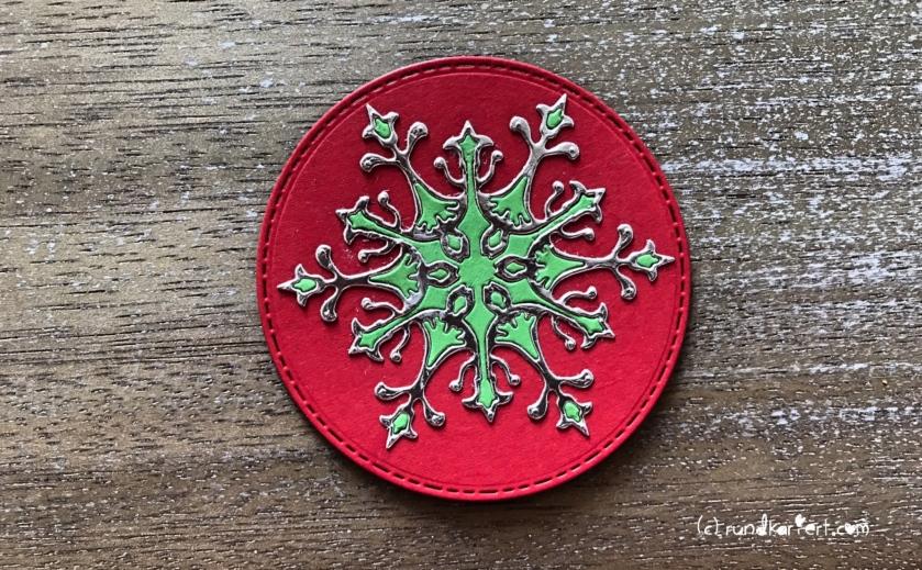 Weihnachtskarte Schneeflocke sizzix Anleitung rundkariert stern