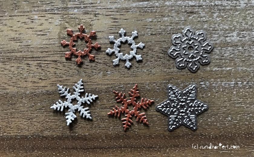 Weihnachtskarte Schneeflocken kraftpapier sizzix Anleitung Sterne