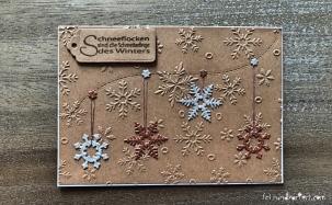 Weihnachtskarte Schneeflocken kraftpapier sizzix Anleitung