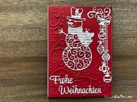 Weihnachtskarte Schneemann sizzix Anleitung rundkariert
