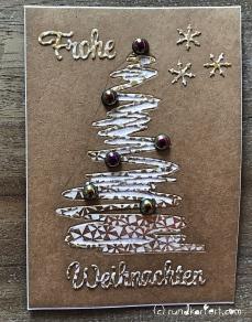 Weihnachtskarte Tannenbaum sizzix Anleitung tim holtz frohe weihnachten rundkariert