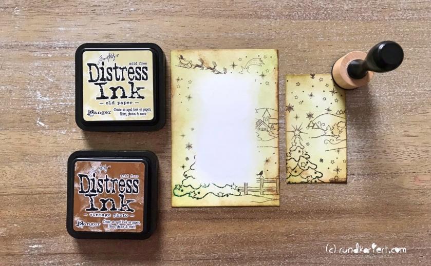 Weihnachtskarte Vintage Embossing sizzix Anleitung rundkariert distress ink