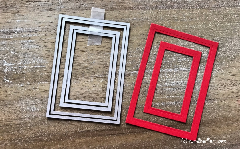 Weihnachtskarte Vintage Embossing sizzix Anleitung rundkariert Rahmen