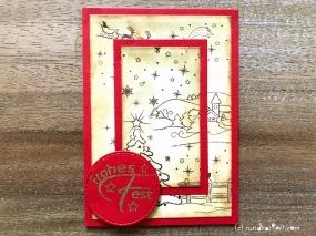 Weihnachtskarte Vintage Embossing sizzix Anleitung rundkariert