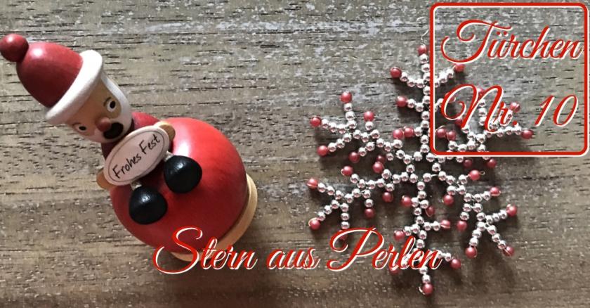 Adventskalender Türchen Nr. 10 Perlenstern Anleitung DIY rundkariert ruka unikate