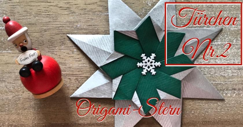 Adventskalender türchen Nr. 2 Origamistern DIY Anleitung basteln Papier