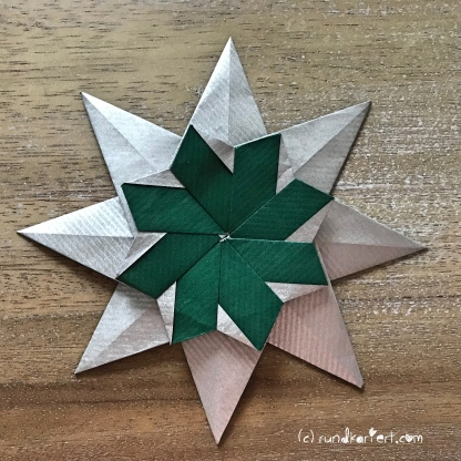Adventskalender türchen Nr. 2 Origamistern DIY Anleitung rundkariert ruka unikate 23