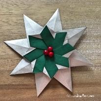 Adventskalender türchen Nr. 2 Origamistern DIY Anleitung rundkariert ruka unikate Falten
