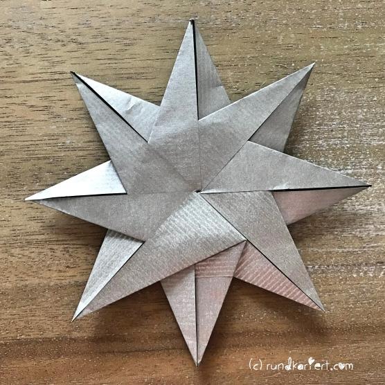Adventskalender türchen Nr. 2 Origamistern DIY Anleitung rundkariert ruka unikate rückseite