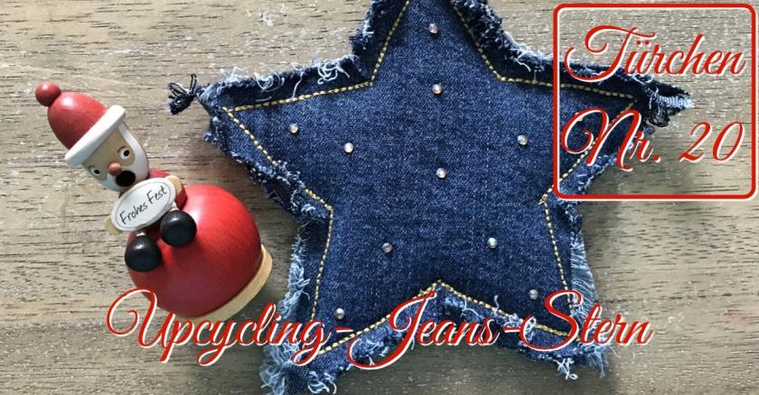 Adventskalender Türchen Nr. 20 Upcycling-Stern aus alter Jeans Anleitung DIY rundkariert ruka unikate