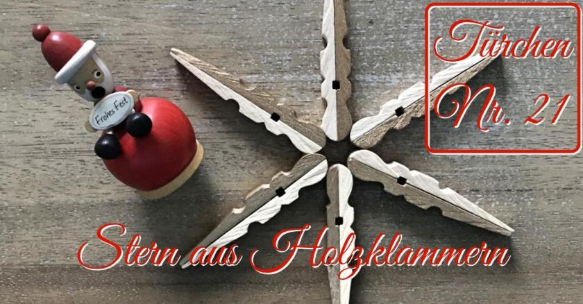 Adventskalender türchen Nr. 21 Stern aus Wäscheklammern DIY Anleitung rundkariert ruka unikate