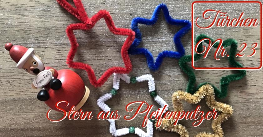 Adventskalender Türchen Nr. 23 Stern aus Pfeifenputzer Anleitung DIY rundkariert ruka unikate
