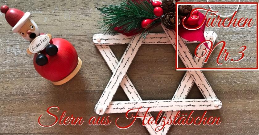 Adventskalender Türchen Nr. 3 Stern Eisstiel Washi Tape Anleitung rundkariert Holzstäbchen Weihnachtsbaum Deko