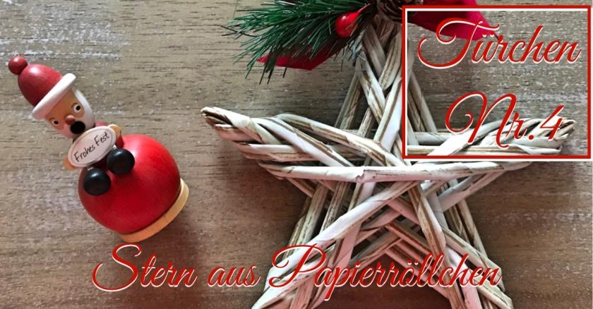 Adventskalender Türchen Nr. 4 Zeitungspapierröllchen Anleitung Stern Weihnachten rundkariert tutorial diy