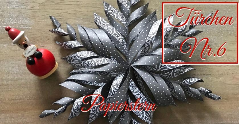 Adventskalender Türchen Nr. 6 Papierstern geschnitten DIY grundelement Papierstern basteln